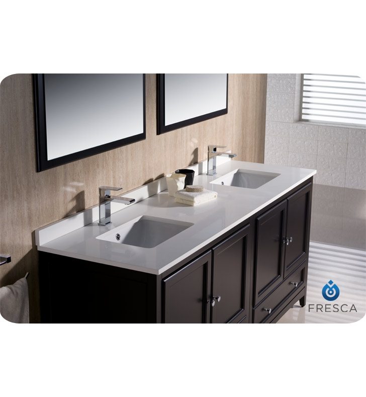 Fresca fvn20 3636es oxford 72 traditional double sink bathroom vanity in espresso - Traditional bathroom vanities double sink ...
