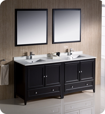 "Fresca FVN20-3636ES Oxford 72"" Traditional Double Sink Bathroom Vanity in Espresso"
