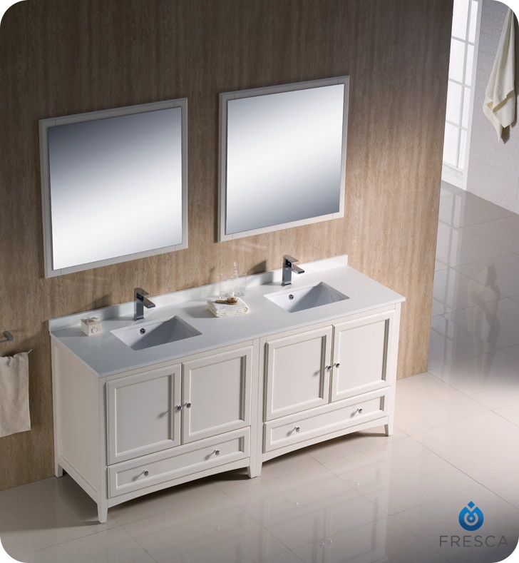 Fresca fvn20 3636aw oxford 72 traditional double sink for Antique white double sink bathroom vanities