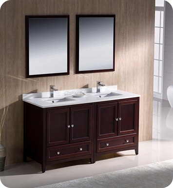 "Fresca FVN20-3030MH Oxford 60"" Traditional Double Sink Bathroom Vanity in Mahogany"
