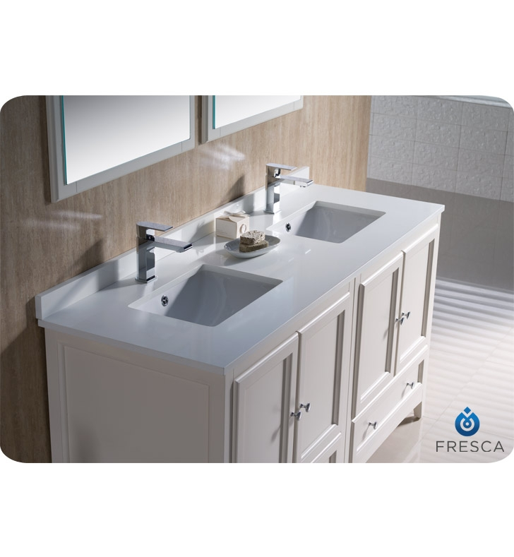 Fresca fvn20 3030aw oxford 60 traditional double sink bathroom vanity in antique white - Traditional bathroom vanities double sink ...