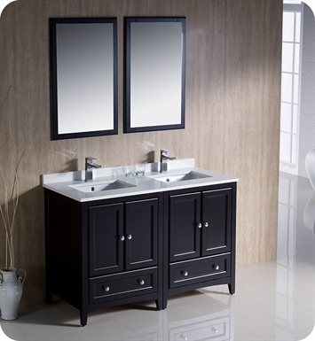 "Fresca FVN20-2424ES Oxford 48"" Traditional Double Sink Bathroom Vanity in Espresso"