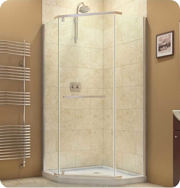 "DreamLine SHEN-2134340-04 Prism Shower Enclosure With Dimensions: D 34 1/8"" x W 34 1/8"" x H 72"" And Finish: Brushed Nickel"