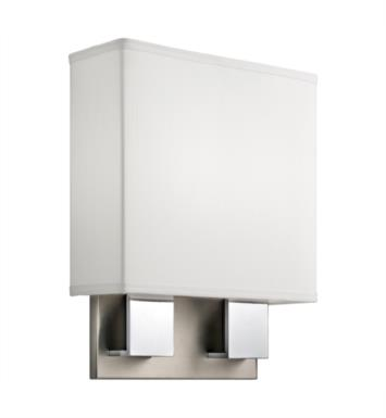 "Kichler 10439NCH Santiago 2 Light 11"" Compact Fluorescent Wall Sconce in Brushed Nickel and Chrome"