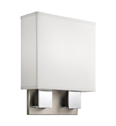 Kichler Santiago Collection Wall Sconce 2 Light Fluorescent in Brushed Nickel & Chrome