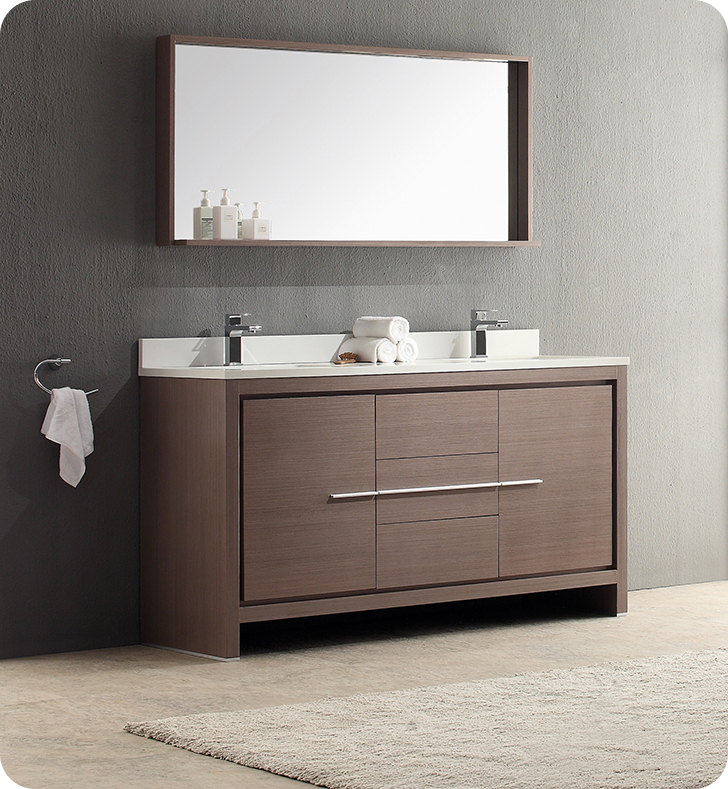 Fresca fvn8119go allier 60 gray oak modern double sink for Modern contemporary bathroom vanities