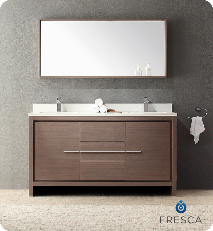 Fresca FVN8119GO Allier 60 Gray Oak Modern Double Sink Bathroom Vanity