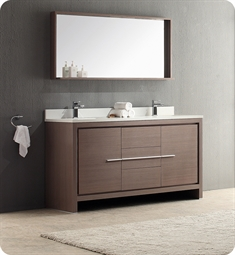 "Fresca Allier 60"" Gray Oak Modern Double Sink Bathroom Vanity"