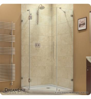 "DreamLine SHEN-2240400-04 Prism Lux Frameless Hinged Shower Enclosure With Dimensions: D 40 3/8"" x W 40 3/8"" x H 72"" And Finish: Brushed Nickel"