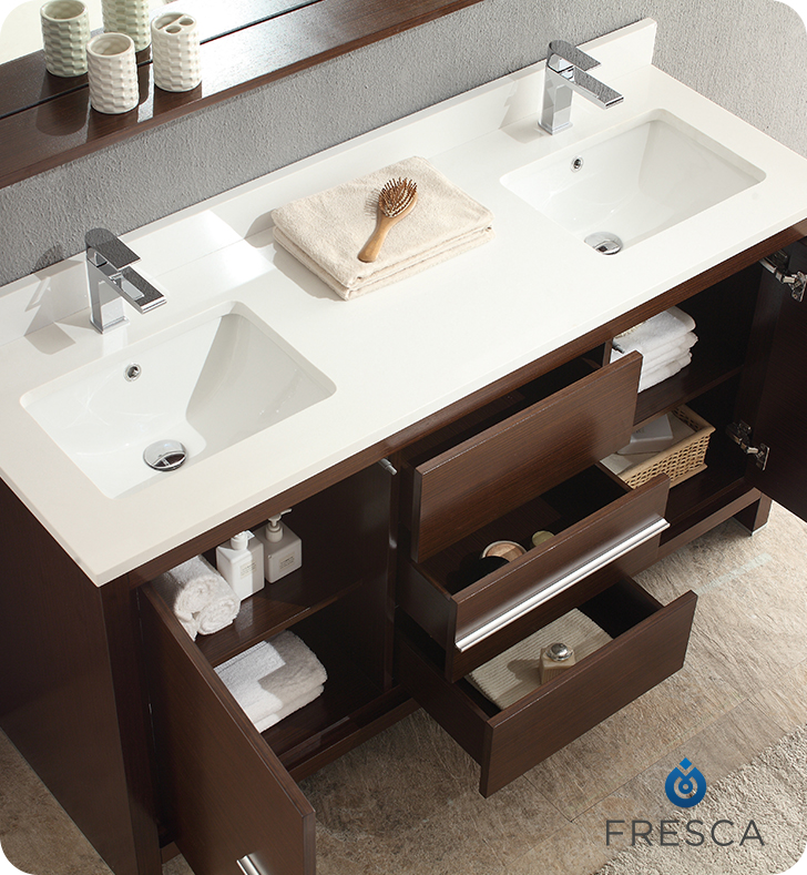Fresca Fvn8119wg Allier 60 Double Sink Modern Bathroom Vanity In Wenge Brown