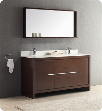 "Fresca FVN8119WG Allier 60"" Double Sink Modern Bathroom Vanity in Wenge Brown"