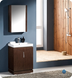 "Fresca FVN8123WG Elissos 24"" Modern Bathroom Vanity with Medicine Cabinet in Wenge Brown"