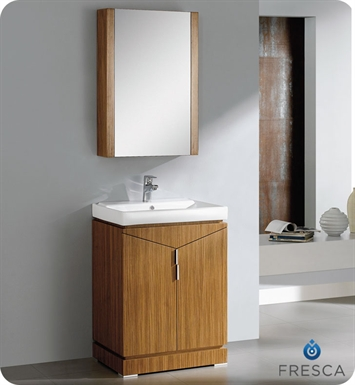 "Fresca FVN8123WO Elissos 24"" Modern Bathroom Vanity with Medicine Cabinet in Wild Honey Oak"