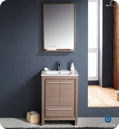 "Fresca FVN8125GO Allier 24"" Modern Bathroom Vanity with Mirror in Gray Oak"