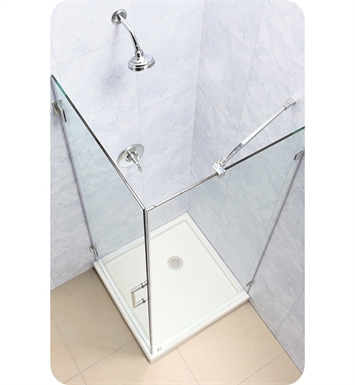 DreamLine SHEN-2330300-01 Unidoor Lux 30-3/8 in. W x 30 in. D x 72 in. H Hinged Shower Enclosure With Finish: Chrome