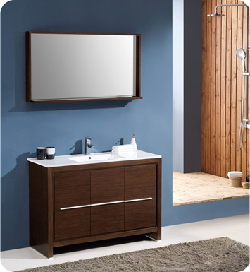 "Fresca FVN8148WG Allier 48"" Modern Bathroom Vanity with Mirror in Wenge Brown"