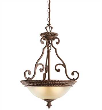 Kichler 2606TZG Larissa Collection Semi Flush Inv Pendant 3 Light in Tannery Bronze w Gold Accent