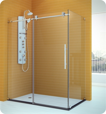 "DreamLine SHEN-6134480-08 Enigma X Shower Enclosure With Dimensions: D 34 1/2"" x W 48 3/8"" x H 76"" And Finish: Polished Stainless Steel"