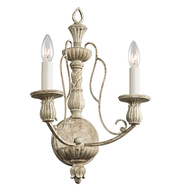 Kichler 43263DAW Hayman Bay Collection Wall Bracket 2 Light in Distressed Antique White