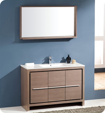 "Fresca FVN8148GO Allier 48"" Modern Bathroom Vanity with Mirror in Gray Oak"