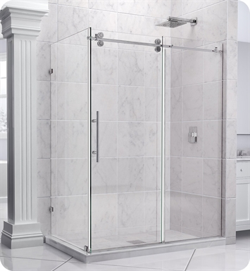 "DreamLine SHEN-60367212-08 Enigma Shower Enclosure With Dimensions: D 36"" x W 72 1/2"" x H 79"" And Finish: Polished Stainless Steel"