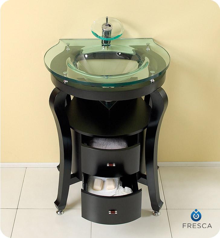 simpatico 26 espresso modern bathroom vanity with mirror and shelves