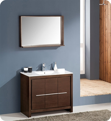 "Fresca FVN8140WG Allier 40"" Modern Bathroom Vanity with Mirror in Wenge Brown"