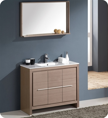 "Fresca FVN8140GO Allier 40"" Modern Bathroom Vanity with Mirror in Gray Oak"