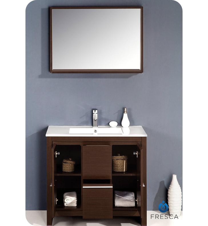 Fresca fvn8136wg allier 36 modern bathroom vanity with for Miroir wenge