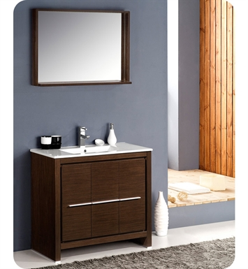 "Fresca FVN8136WG Allier 36"" Modern Bathroom Vanity with Mirror in Wenge Brown"