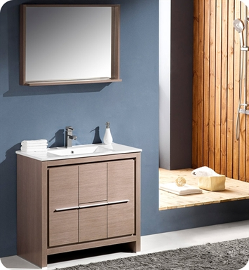 "Fresca FVN8136GO Allier 36"" Modern Bathroom Vanity with Mirror in Gray Oak"