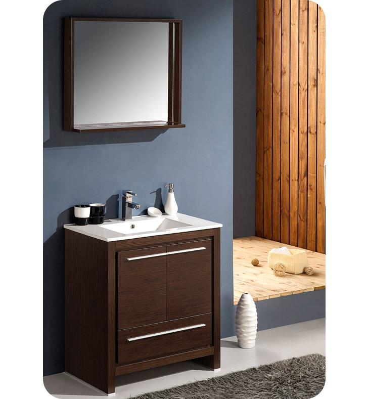 fresca fvn8130wg allier 30 modern bathroom vanity with mirror in wenge brown