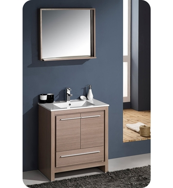 "Fresca FVN8130GO Allier 30"" Modern Bathroom Vanity with Mirror in Gray Oak"