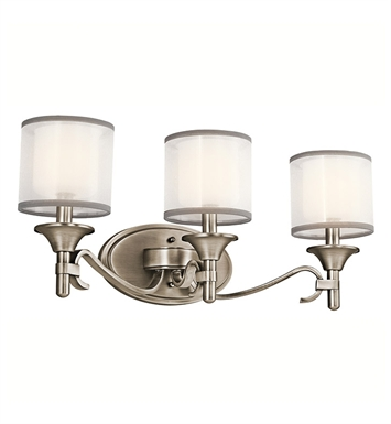 Kichler 45283AP Lacey Collection Bath 3 Light in Antique Pewter