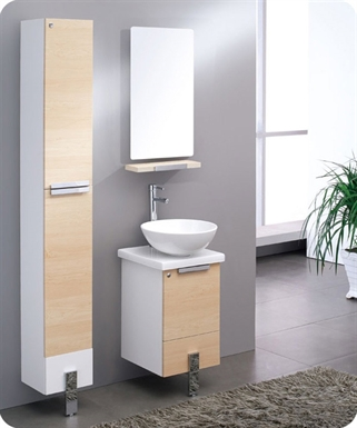 "Fresca FVN8110LT Adour 16"" Modern Bathroom Vanity with Mirror in Light Walnut"