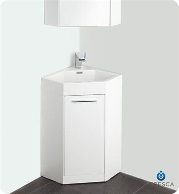 Fresca fvn5084wh coda 18 modern corner bathroom vanity in white for 18 inch white bathroom vanity