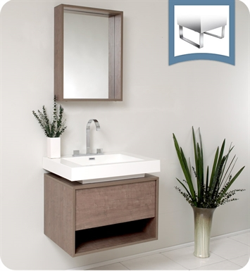 "Fresca FVN8070GO Potenza 28"" Gray Oak Modern Bathroom Vanity with Pop Open Drawer"