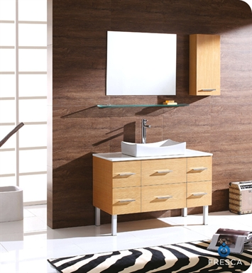 Fresca FVN6123NW Distante Modern Bathroom Vanity with Mirror and Side Cabinet in Natural Wood