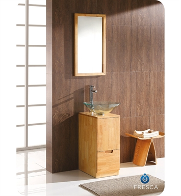 Fresca FVN6117NW Brilliante Modern Bathroom Vanity Set with Mirror in Natural Wood