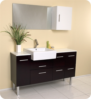"Fresca FVN6143ES Serio 56"" Espresso Modern Bathroom Vanity with Mirror and Side Cabinet"