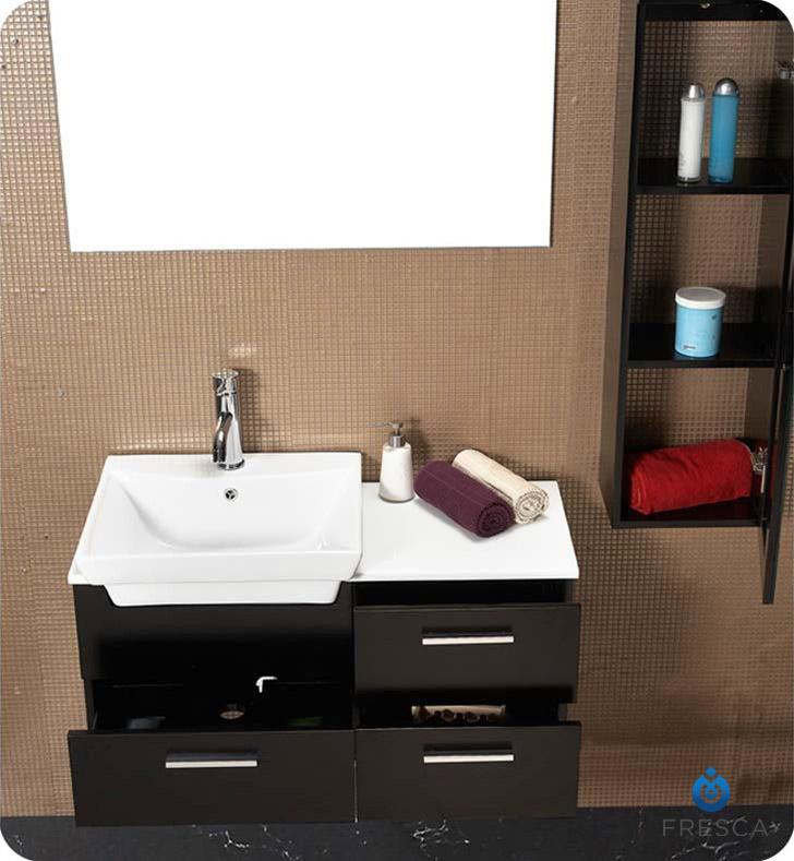 Fresca fvn6163es caro 36 espresso modern bathroom vanity for Espresso vanity bathroom ideas