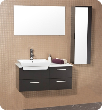 "Fresca FVN6163ES Caro 36"" Espresso Modern Bathroom Vanity with Mirrored Side Cabinet"