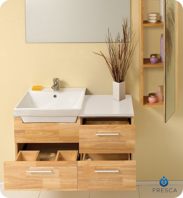 Caro Vanity With Mirrored Cabinet Natural Wood