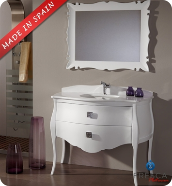 "Fresca Platinum FPVN7516WH Paris 44"" Glossy White Bathroom Vanity with Swarovski Handles"