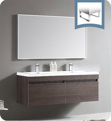 "Fresca FVN8040GO Largo 57"" Gray Oak Modern Bathroom Vanity with Wavy Double Sinks"