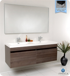 Fresca Largo Gray Oak Modern Bathroom Vanity with Wavy Double Sinks