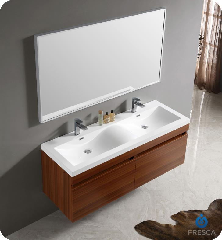 """Modern Bathroom Vanity And Sink fresca fvn8040tk largo 57"""" teak modern bathroom vanity with wavy"""