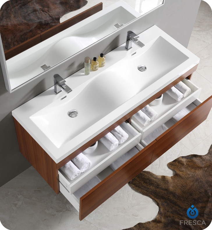 "Bathroom Faucets Erie Pa fresca fvn8040tk largo 57"" teak modern bathroom vanity with wavy"