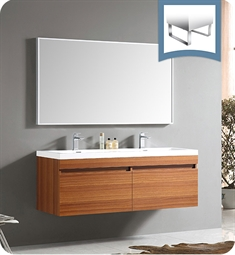 Fresca FVN8040TK Largo Modern Bathroom Vanity with Wavy Double Sinks in Teak