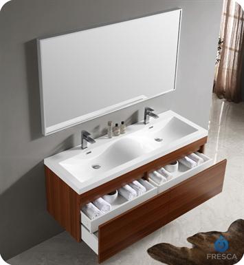 Fresca Fvn8040tk Largo 57 Quot Teak Modern Bathroom Vanity